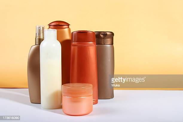 bottles of cosmetics - body care stock pictures, royalty-free photos & images