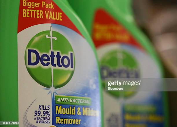 Bottles of Dettol disinfectant produced by Reckitt Benckiser Group Plc sit on display inside a supermarket in London UK on Friday Feb 8 2013...