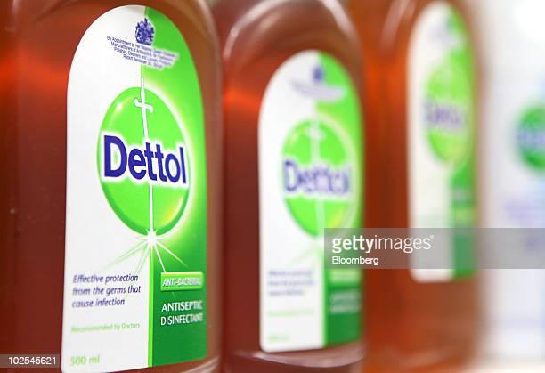 Bottles of Dettol disinfectant sit displayed on a shelf at the Reckitt Benckiser Plc headquarters in Slough UK on Wednesday June 30 2010 Reckitt...