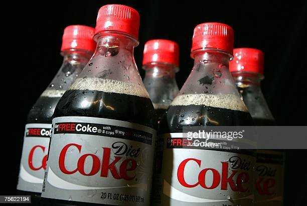 Bottles of Diet Coke are displayed before the start of the baseball game with the San Francisco Giants and the Atlanta Braves at ATT Park July 24...