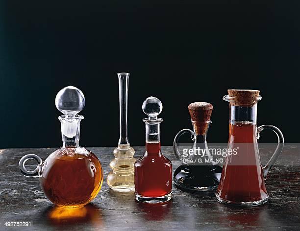 Bottles of different types of vinegars