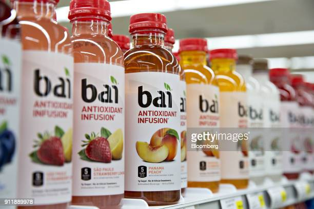 Bottles of Dr Pepper Snapple Group Inc Bai brand antioxidant infusion beverages are displayed for sale at a supermarket in Princeton Illinois US on...