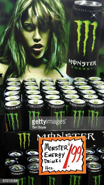 Bottles of energy drink, Monster, lie on display at a market March 6, 2006 in Des Plaines, Illinois. A new study reportedly links sugary sodas and...
