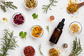 Bottles of essential oil with herbs and flowers on a white background
