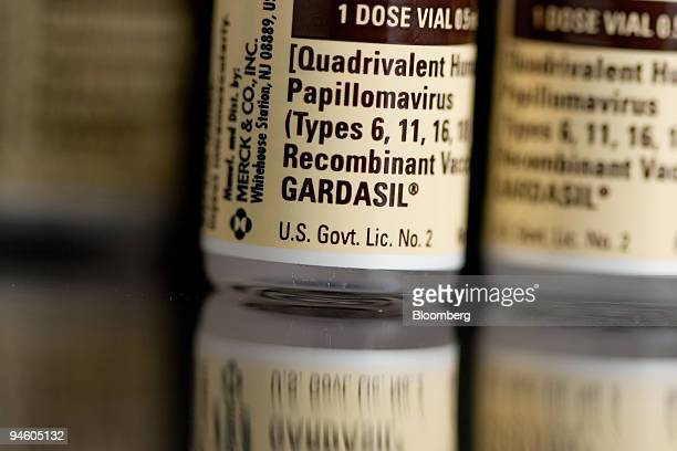 Bottles of Gardasil are arranged for an illustration at C O Bigelow Pharmacy in New York New York Thursday October 4 2007 Merck Co's Gardasil the...