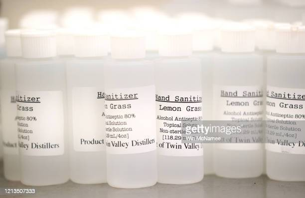 Bottles of hand sanitizer produced by Twin Valley Distillers are shown at the distillery March 19 2020 in Rockville Maryland The distillery is...