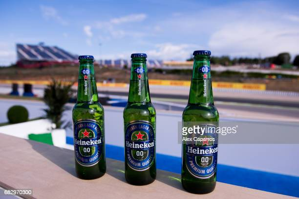 Bottles of 'Heineken 00' are seen at the Heineken 00 grandstand celebrating the launch of the zero alcohol beer 'Heineken 00' during the Spanish...