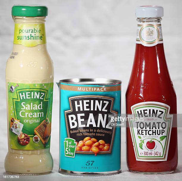Bottles of HJ Heinz Co Tomato Ketchup and Salad Cream and a tin of Baked Beanz on February 15 2013 in London England Billionaire investor Warren...