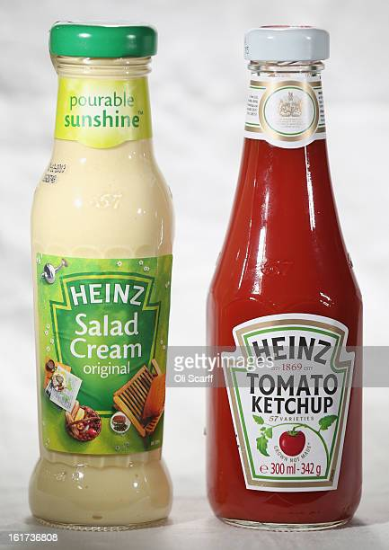Bottles of HJ Heinz Co Tomato Ketchup and Salad Cream on February 15 2013 in London England Billionaire investor Warren Buffett's Berkshire Hathaway...