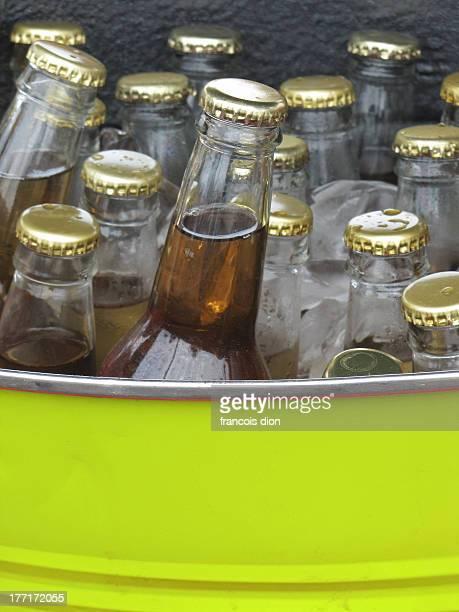 Bottles of homemade apple cider