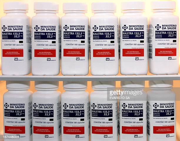 Bottles of Kaletra, of the Abbott Laboratories, are displayed at a pharmacy in Brasilia, 30 June 2005. Brazilian Health Minister Humberto Costa said...