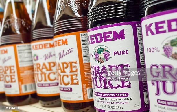 Bottles of Kedem brand kosher grape juice in a supermarket in New York on Tuesday March 22 2016 Kosher food manufacturer Manischewitz is introducing...