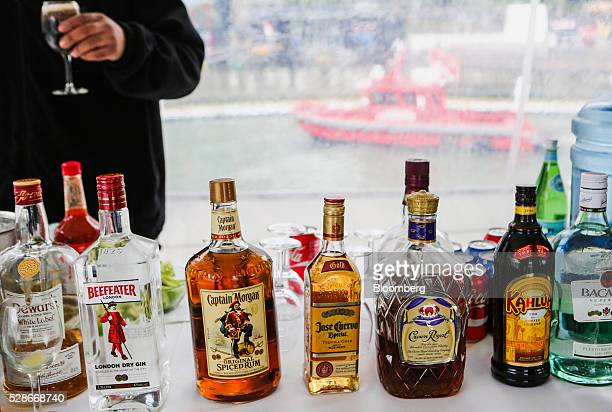Bottles of liquor are seen aboard the Land Rover hospitality boat ahead of the Louis Vuitton America's Cup World Series races in New York US on...