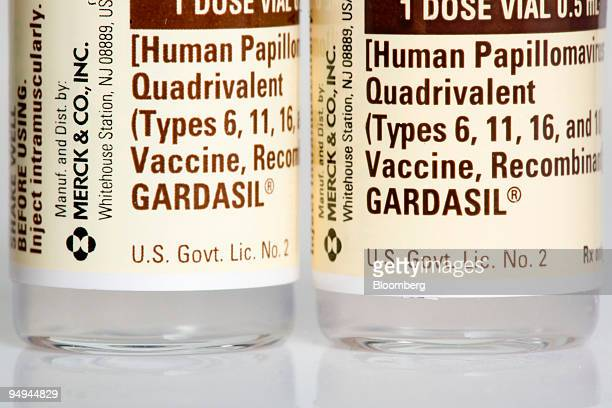 Bottles of Merck Co's cervical cancer vaccine Gardasil are arranged for a photo at a pharmacy in New York US on Monday March 9 2009 Merck Co's $411...