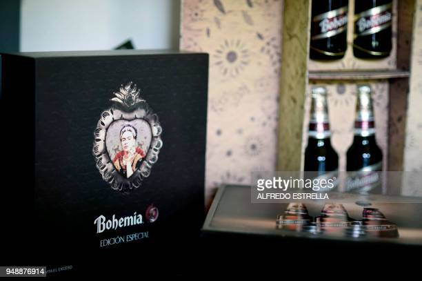 Bottles of Mexican beer Bohemia with the image of late Mexican artist Frida Kahlo are exhibited alongside other commercial products at her sister's...