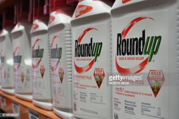 Bottles of Monsanto's Roundup are seen for sale June 19 2018 at a retail store in Glendale California A former groundskeeper who contracted terminal...