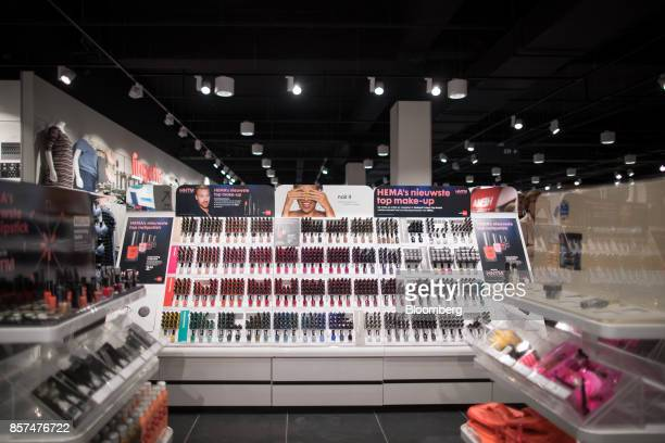 Bottles of nail varnish sit on a cosmetics display inside a Hema BV store in Tilburg Netherlands on Wednesday Oct 4 2017 Privateequity firm Lion...