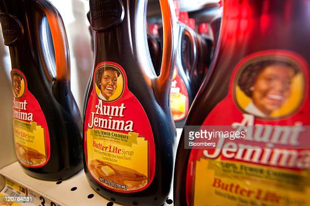 Bottles of PepsiCo Inc Aunt Jemima syrup are displayed for sale at a ShopRite Holdings Ltd grocery store in Stratford Connecticut US on Wednesday Aug...