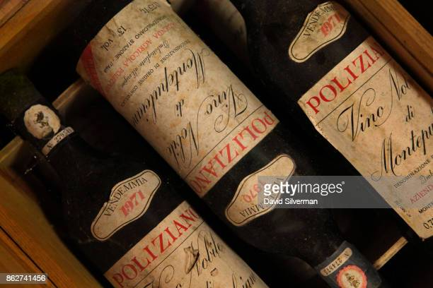 Bottles of Poliziano's Sangiovese grape Vino Nobile di Montepulciano dated to 1970 and 1971 are stored in its cellars on July 23 2015 in...