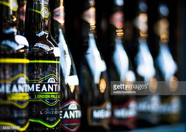 Bottles of real ale for sale, Borough Market, London, UK