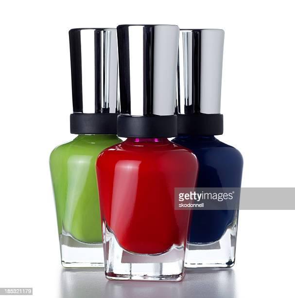 Bottles of Red Green and Blue Fingernail Polish