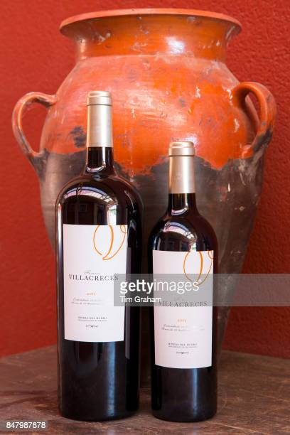 Bottles of red wine Finca Villacreces Ribera del Duero bodega wine production by River Duero Navarro Spain