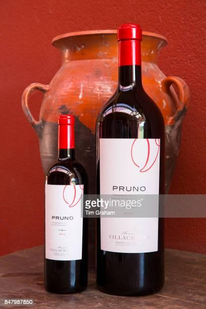 Bottles of red wine Pruno at Finca Villacreces Ribera del Duero bodega wine production by River Duero Navarro Spain