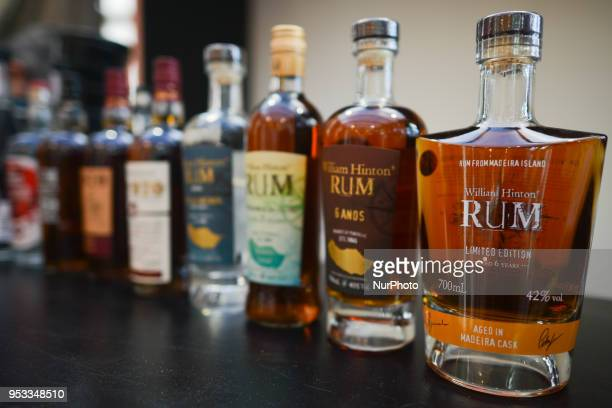Bottles of Rhum produced in Madeira on display during the 2nd edition of Madeira's Rhum Festival sign seen in Funchal city center On Monday April 21...