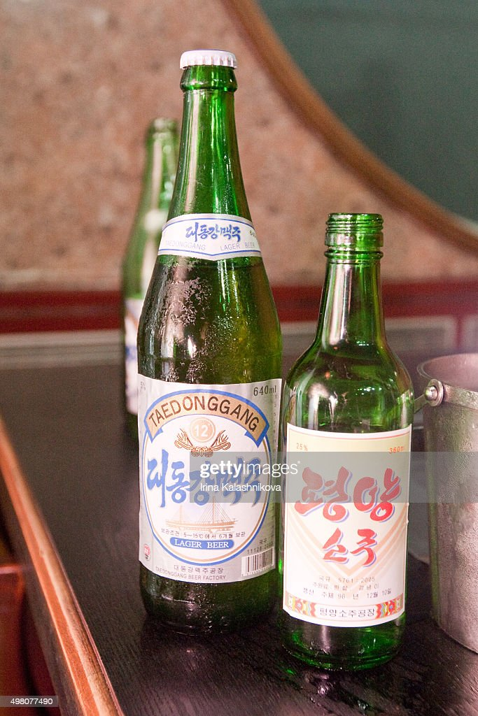 Bottles of Taedonggang beer at a research room of the Taedonggang