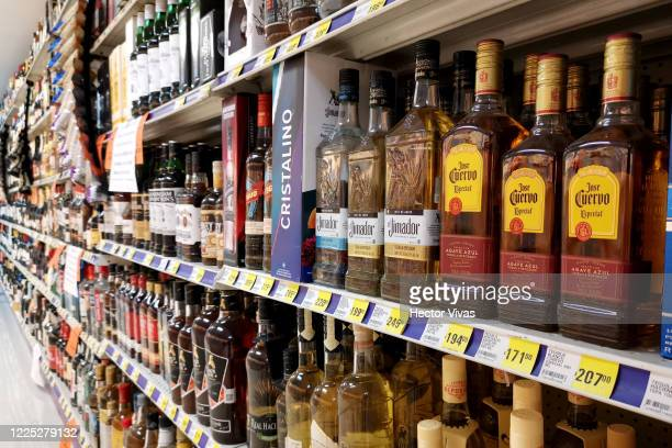 Bottles of tequila are seen in a supermarket that is not allowed to sale alcohol due to a Dry Law that is being applied in some delegations of Mexico...