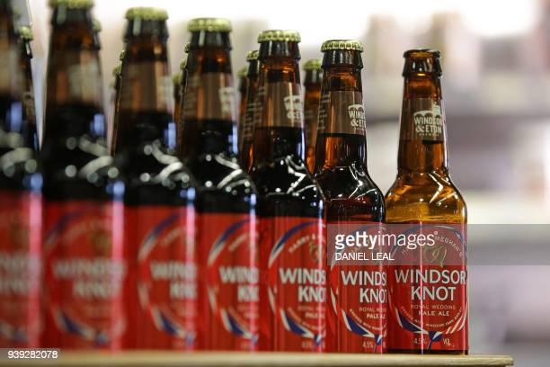 Bottles of the new Harry Meghan's Windsor Knot ale a limited edition craft beer brewed to mark the royal wedding of Prince Harry and Meghan Markle...