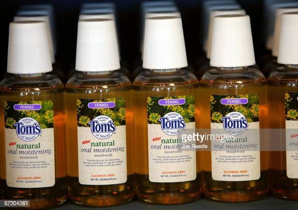 Bottles of Tom's of Maine mouthwash are seen on a shelf March 28, 2006 in Kennebunk, Maine. The Colgate-Palmolive Company announced recently that...