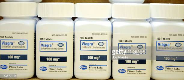 Bottles of Viagra sit on a shelf at the Post Haste Pharmacy And Surgical Store on June 16 2003 in Hollywood Florida The US Senate is set to debate a...