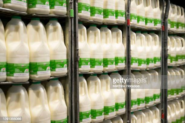 Bottles of welsh milk available for sale in a supermarket on November 19, 2020 in Cardiff, Wales.