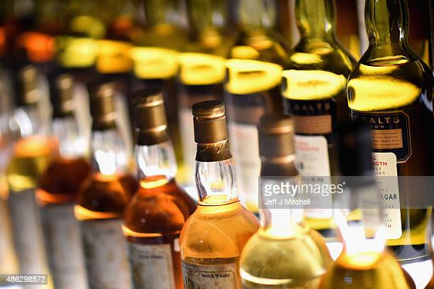Bottles of whisky on display in the Diageo Claive Vidiz Collection, the world's largest collection of Scottish Whisky on display at The Scotch Whisky...