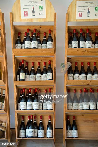 Bottles of wine are on display in the village of ChateauneufduPape which is in the Vaucluse department ProvenceAlpesC��te d'Azur region in...