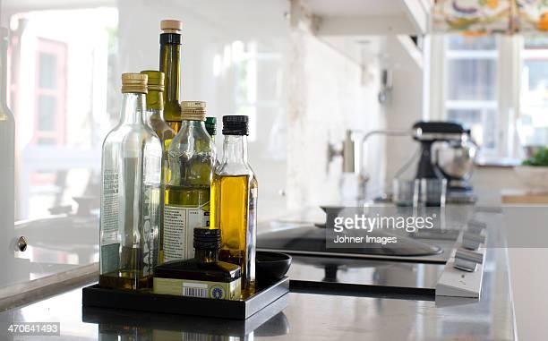 Bottles on kitchen worktop, close-up