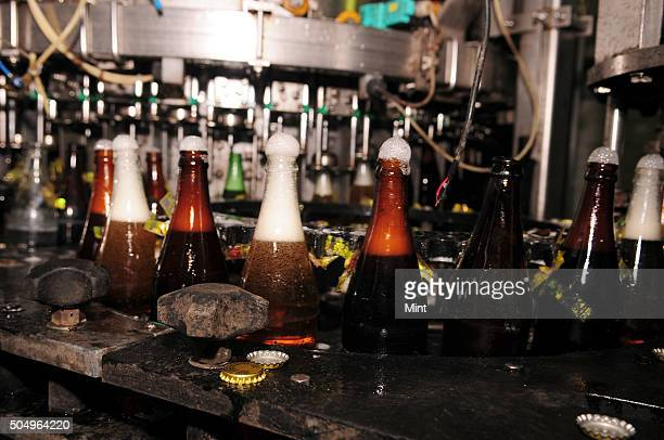 Bottling of Beer bottles at Yuksom Breweries Ltd located at Melli Bazar on March 10 2015 in South Sikkim India