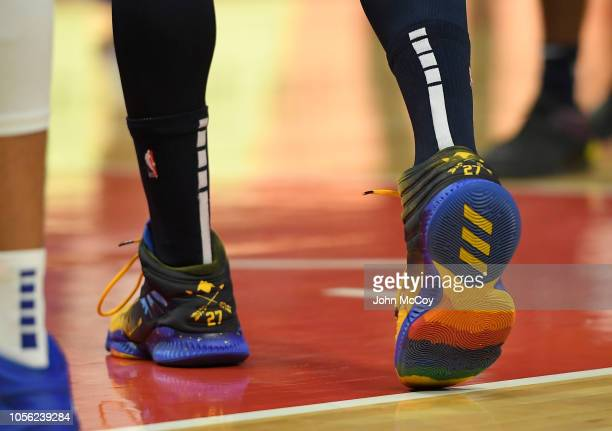Bottom and back of the shoes worn by Jamal Murray of the Denver Nuggets during the season opening game at Staples Center on October 17 2018 in Los...