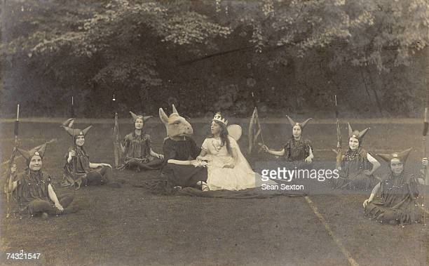 Bottom and Titania in an open air performance of Shakespeare's 'A Midsummer Night's Dream' in Eastbourne circa 1910