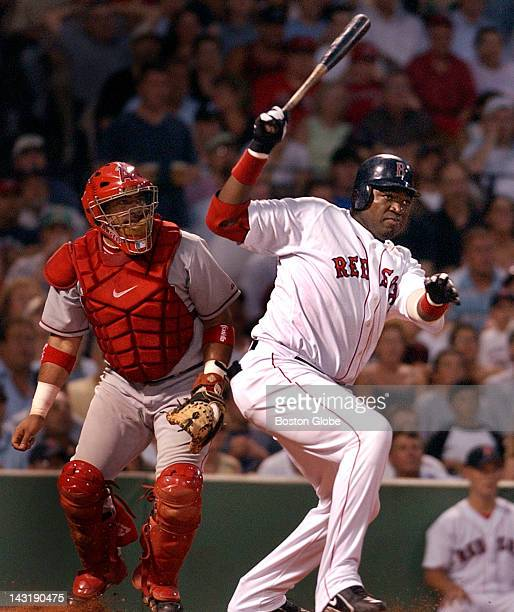 Bottom of the fourth inning Red Sox Manny Ramirez is on first base with none out David Ortiz at the plate 32 count and Ramirez is off with the pitch...