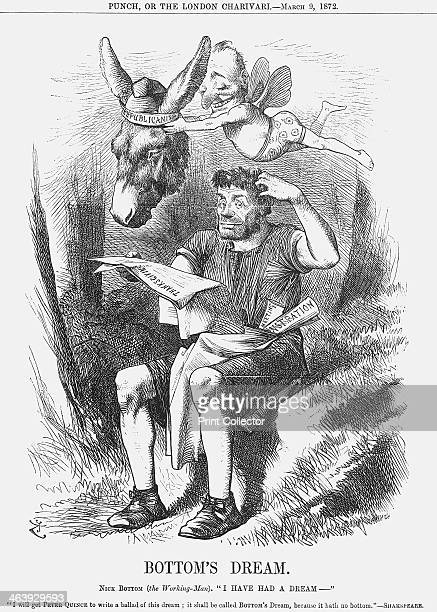 'Bottom's Dream' 1872 Nick Bottom representative of the British labourer is being relieved of the ass's head by Mr Punch in a scene from A Midsummer...