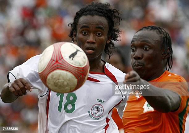 Ivory Coast Elephants player defender Arthur Boka vies with Madagascar's Randrianarisoa during their African Nations Cup 2008 qualifying match in...