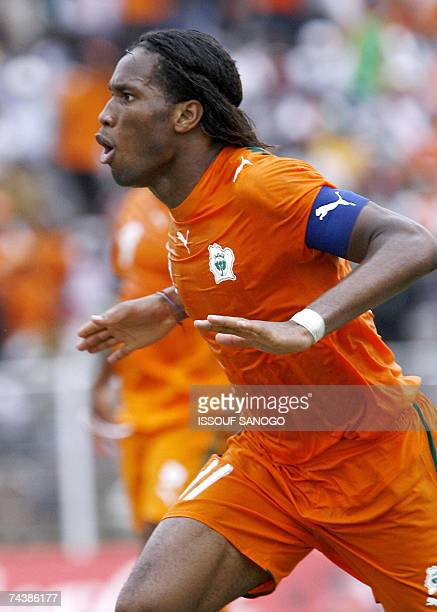 Ivory Coast Elephants striker Didier Drogba jubilates after scoring against Madagascar 03 June 2007 during their African Nations Cup2008 qualifying...