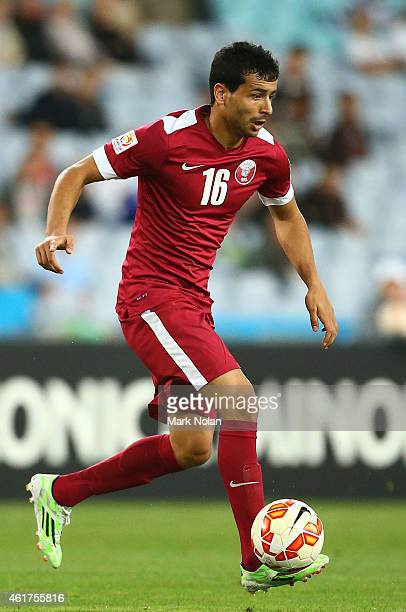 Boualem Khoukhi of Qatar in action during the 2015 Asian Cup match between Qatar and Bahrain at ANZ Stadium on January 19 2015 in Sydney Australia