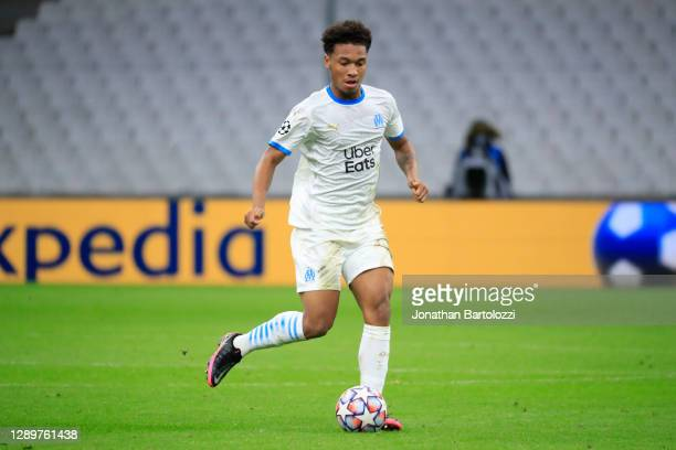 Bouba Kamara during the UEFA Champions League Group C stage match between Olympique de Marseille and Olympiacos FC at Stade Velodrome on December 01,...