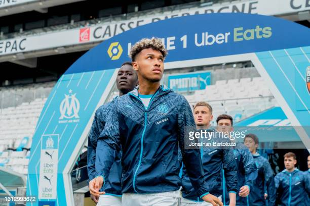 Bouba Karama of Olympique Marseille steps out to the pitch prior to the Ligue 1 match between Olympique Marseille and FC Lorient at Stade Velodrome...