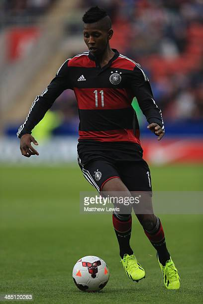 Boubacar Barry of Germany in action during the Under 18 International Friendly match between England U18 and Germany U18 at The New York Stadium on...