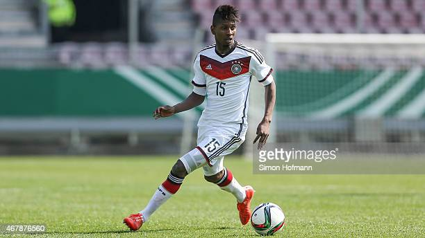 Boubacar Barry of Germany runs with the ball during to the UEFA European Under19 Championship Elite Round match between U19 Germany and U19 Ireland...