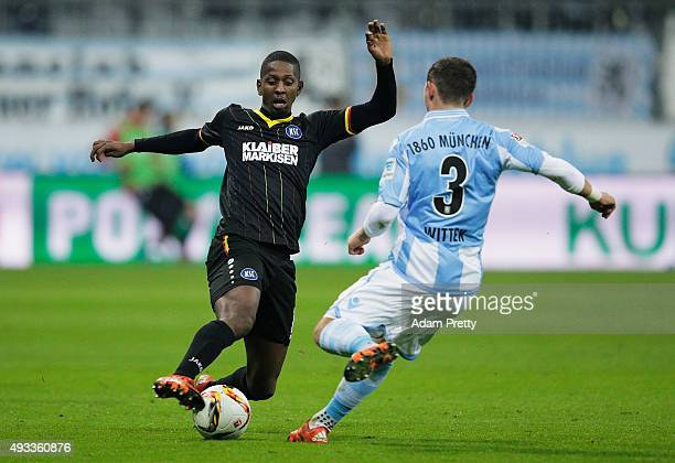 Boubacar Barry of Karlsruher SC in action during the 2 Bundesliga match between 1860 Muenchen and Karlsruher SC at Allianz Arena on October 19 2015...